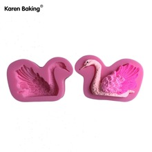 Beautiful Swan Shaped Silicone Press Mold Cake Decoration Fondant Cake 3D Food Grade Silicone Mould C596(China (Mainland))