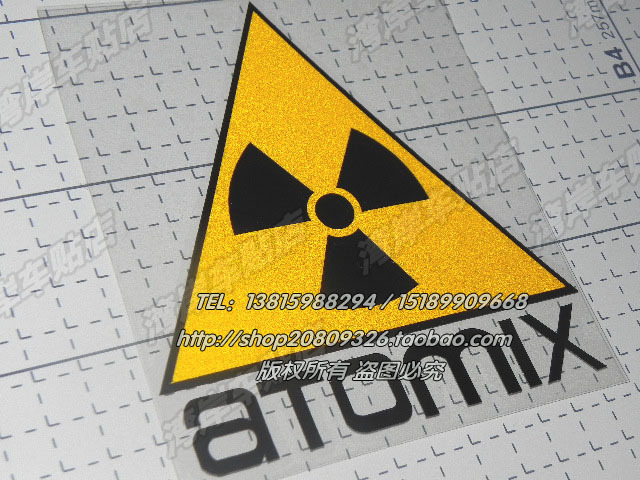 Hot Sale Biohazard warning stickers - ATOMIX nuclear radiation reflective triangle sign Drop shipping Car Decal(China (Mainland))