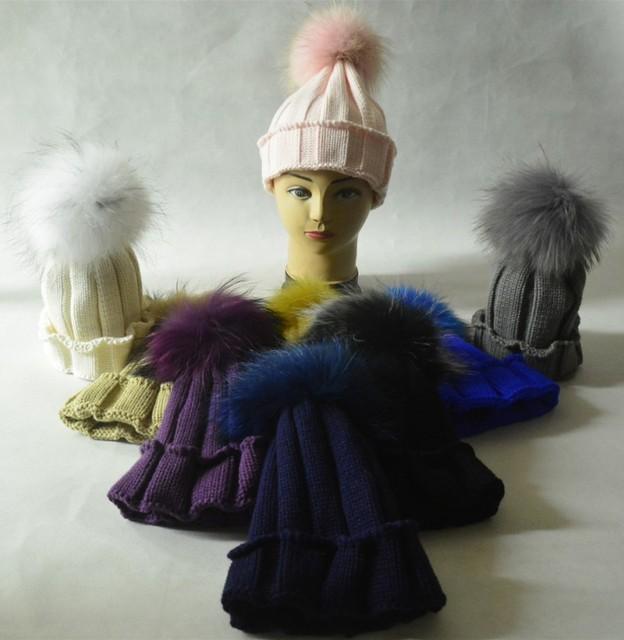2015 новый бренд зимний ребенка 100% натурального меха фокс вязаные шапочки мех Pompoms ...