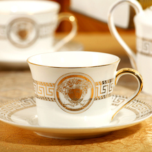 15 pieces European classic bone china tableware gold trim ceramic Coffee cup and saucer suit bone