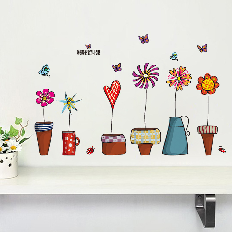 flowerpot butterfly wall stickers house decoration 947. diy print mural art plant home decals kids gift living bed playroom 4.0(China (Mainland))
