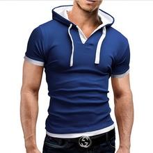 T Shirt Men Marca 2017 Hombres de La Moda Con Capucha Honda Cuello Tapas de Diseño camisetas y Camiseta Hombres de Manga Corta Slim camiseta Homme 5XL NFSD(China (Mainland))