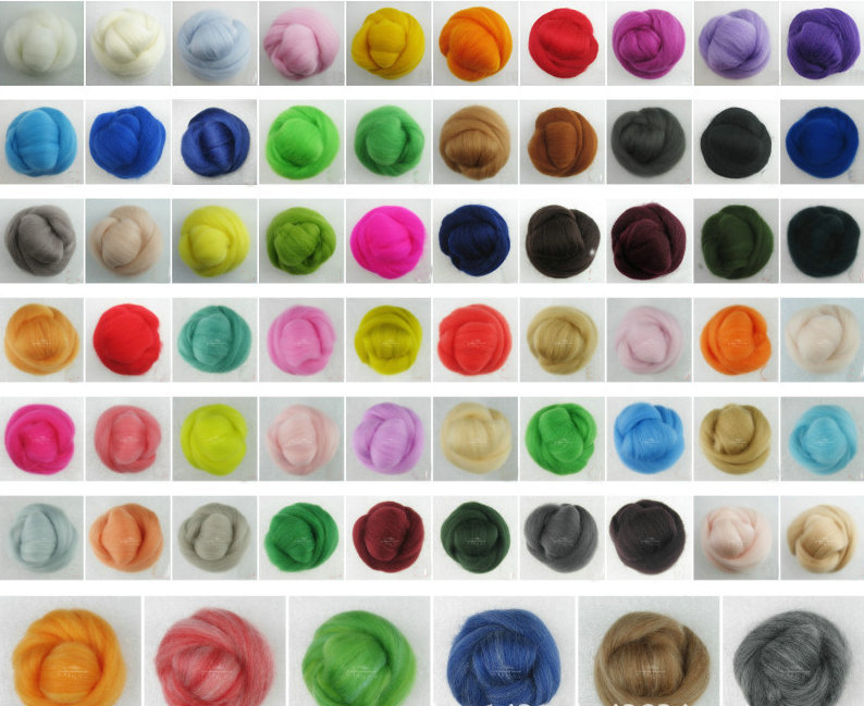 Mix 60 different Light and dark Colors Merino Wool Fibre Roving For Needle Felting Hand Spinning DIY Fun Doll Needlework 5g/bag(China (Mainland))