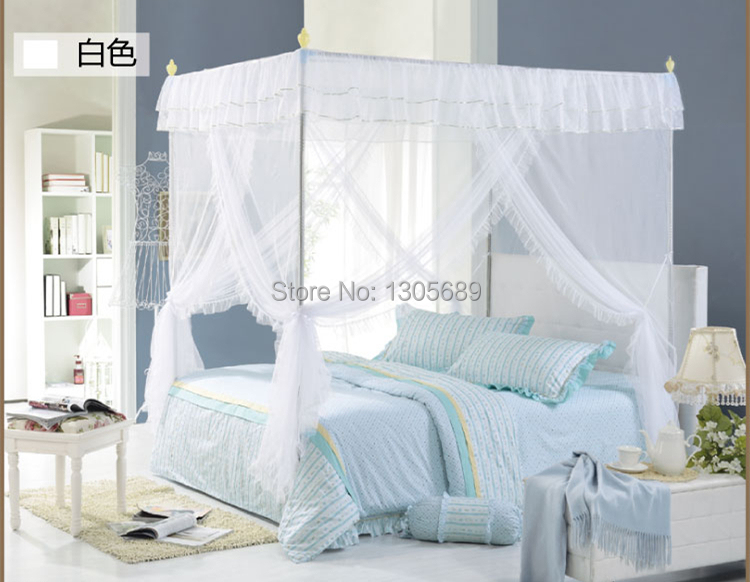 2015 newly listed European style High quality metal steel frame pole Mosquito net bed 4 four corner canopy queen size king size(China (Mainland))