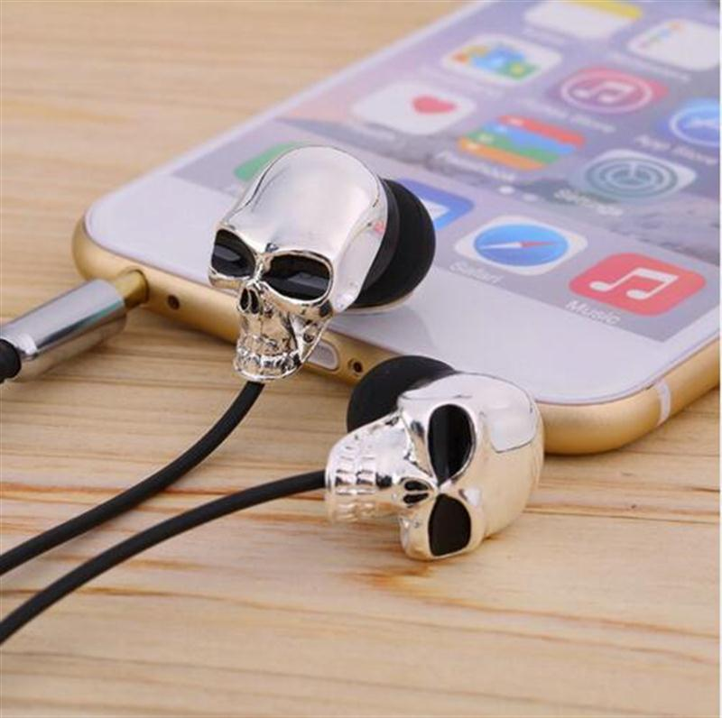 1pc Unique Design 3.5mm In ear earphone High Performance Metal skull headphone For MP3/MP4 smartphones(China (Mainland))