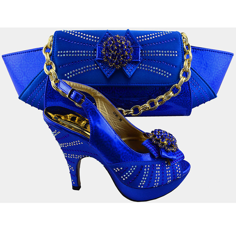 Italian Shoes And Matching Bags ! Italian Ladies Shoes And Bags sets For African Lady (Size:38-42)  Royal blue CF45<br><br>Aliexpress