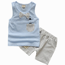 2016 New Summer Baby Boy Clothing Set Tank Top + Shorts Kid Boy Summer Set Children Boy Clothes Set Toddler Sleeveless striped(China (Mainland))