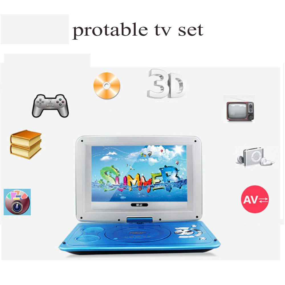 Hot selling 14inch HD mini Rotating Screen Smart TV EVD DVD Player Mini TF Card And USB Audio And Video Playback Television(China (Mainland))