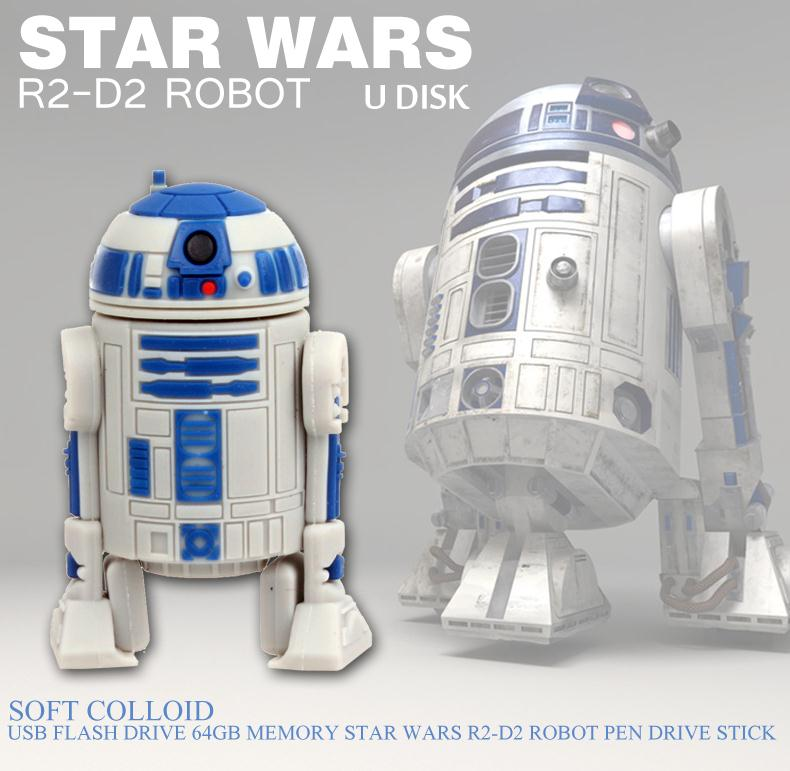 Гаджет  High imitation 8GB 16GB 32GB Star War Series R2D2 Robot USB Flash 2.0 Memory Drive Sticks Pen Disk 64gb Rubber Free Shipping None Компьютер & сеть