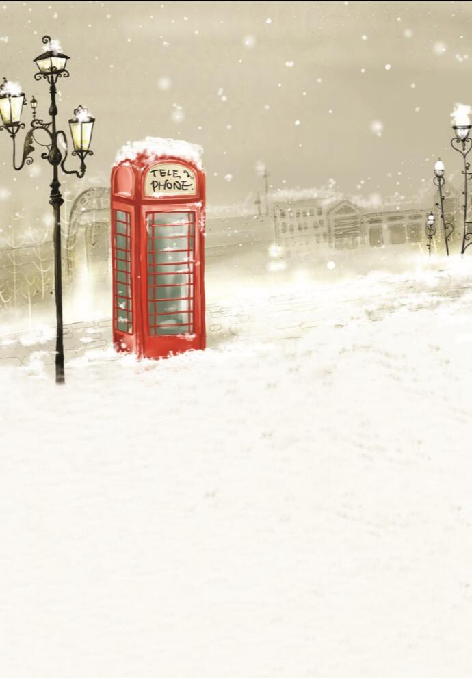 220cm*150(7ft*5ft) photo studio background backdrop Winter snow street light Phone Booth photo backdrop 209(China (Mainland))