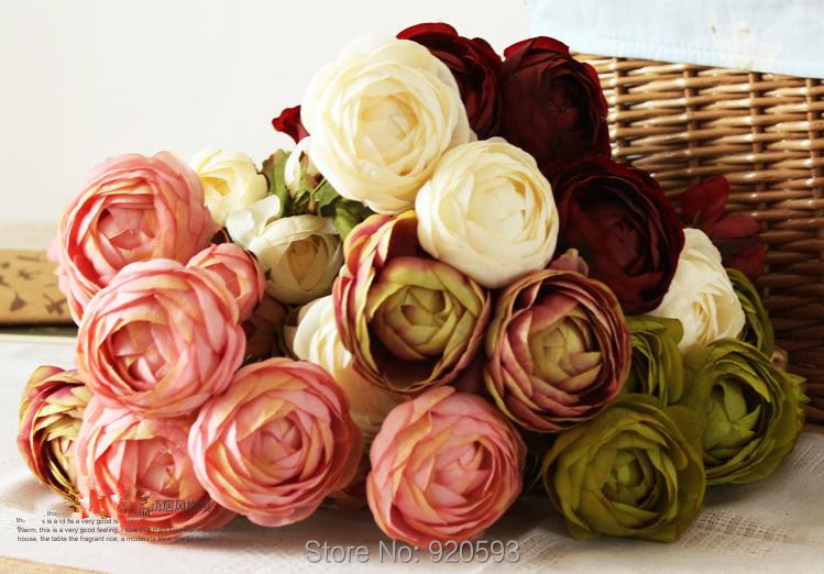 25pcs rose Artificial flower 4 colors 58cm 3 heads Flowers silk Flowers Home decorations for Wedding Party or Birthday(China (Mainland))
