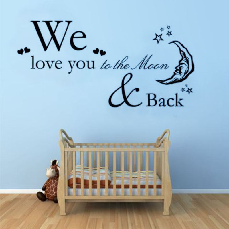 We Love You To The Moon And Back Babys Room Wall Sticker Moon And Stars Decorative Vinyl Art Wall Decals(China (Mainland))