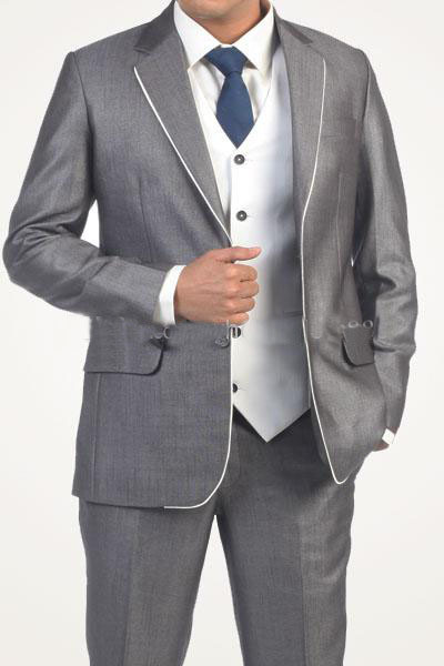 2015 new arrival high quality silver gray wedding/business/formal suits with white edges on the collar,cheap wedding Tuxedos(China (Mainland))