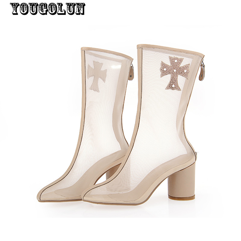 2015 leather Women sandals women summer boots sexy round toe sandal high heels shoe Ladies fashion boot white apricot red shoes