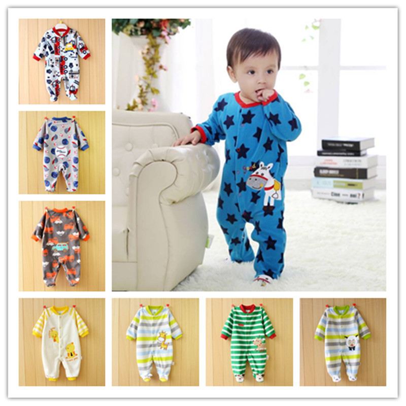 Free Shipping- 2014 spring fleece rompers long-sleeve newborn girl &amp; boy baby feet padded clothes with character 3-18M<br><br>Aliexpress