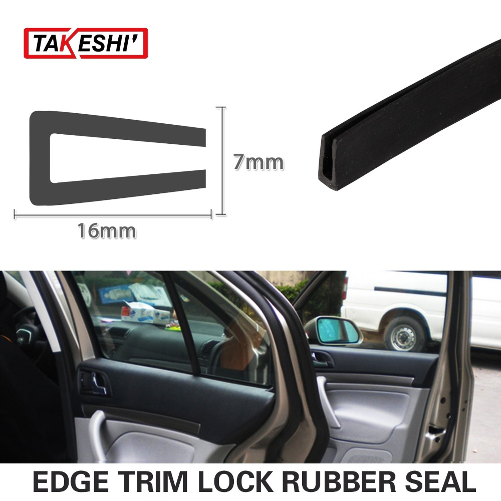 "16x7mm Black Seal Strip Edge Trim Rubber pillar 157"" 400cm Car Truck Door Flexible Protector Interior Exterior Guard Strip #58(China (Mainland))"