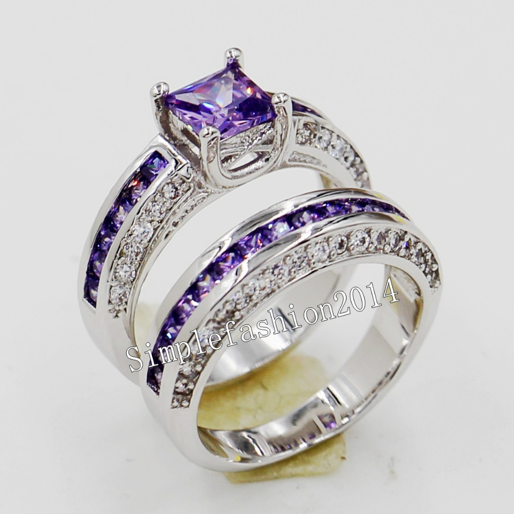 Beau Diamond Amethyst Wedding Rings