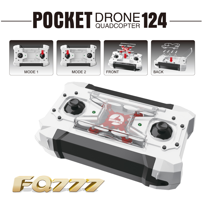 Dron Quadrocopter FQ777-124 Pocket Drone 4CH 6Axis Gyro Quadcopter With Switchable Controller RTF UAV RC Helicopter mini drone(China (Mainland))