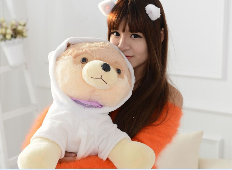 big plush Pomeranian toy lovely white clothes Pomeranian dog doll gift about 50cm(China (Mainland))