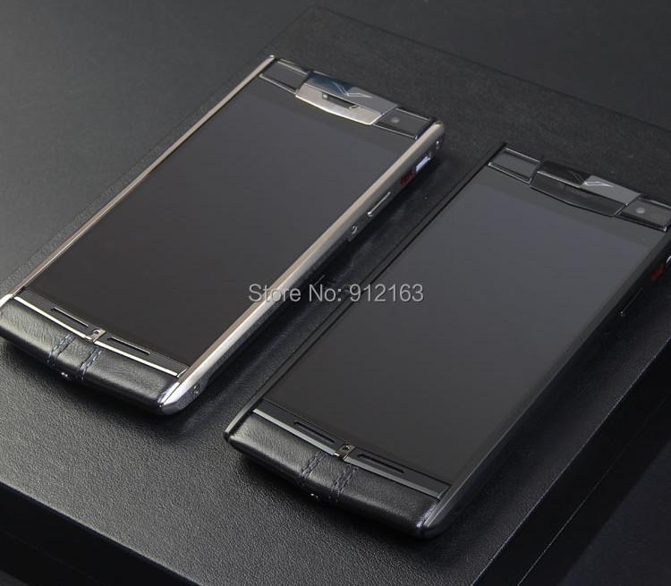 Top Quality Luxury Signature Touch BLACK CALFSKIN Mobile Phones Titanium Sapphire Crystal Screen 4G LTE Octa