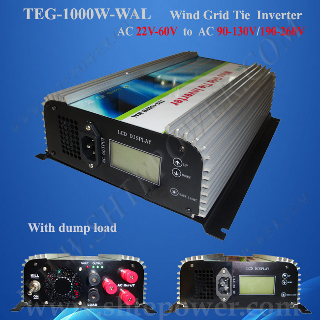 1000w Free shipping grid connect inverter for wind turbine inverter, 3 phase inverter, 22v-60v ac to 90v-130v grid tie wind(China (Mainland))