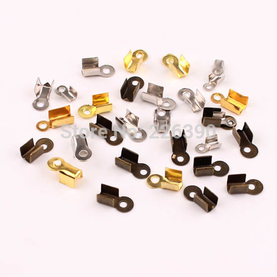 200pc/lot 8*4mm Zinc Alloy Rhodium Plated End Caps Leather Cord Crimp Caps For Necklace Chain DIY Jewelry Findings Making Y733(China (Mainland))