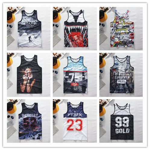 New fashion mens/womens Rihanna 3D tank tops print pyrex 23 catroon floral vest sleeveless letter shirts tops Plus size(China (Mainland))
