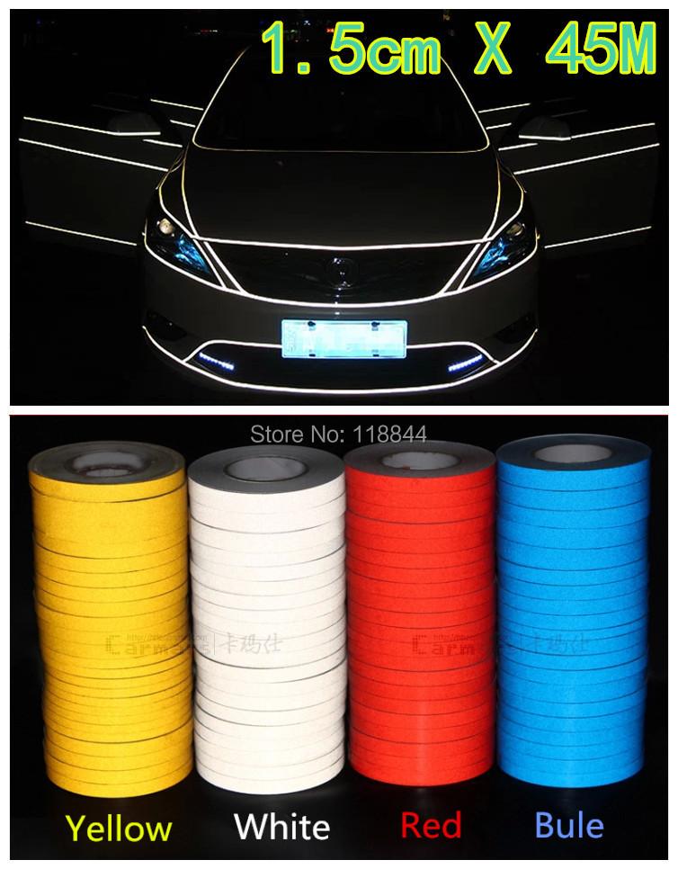45M*1.5CM Super reflective strip car be light garland luminous stickers body decoration full reflectors vw becomes(China (Mainland))
