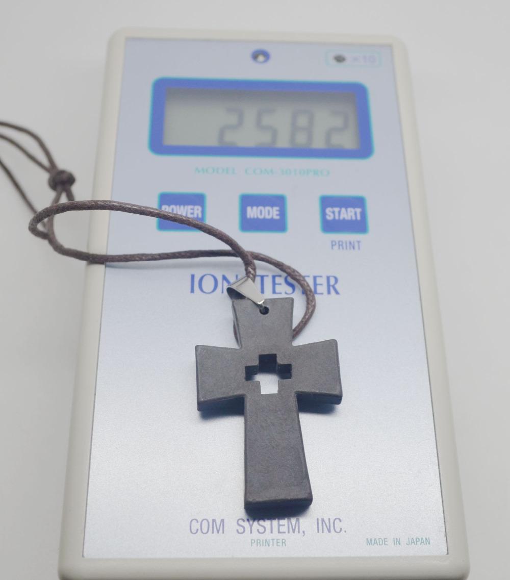 Free Shipping 10pcs/lot Black Cross Style Necklace Quantum Pendant basalt Iava Scalar Energy Pendant Ion Necklace for health(China (Mainland))