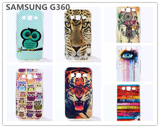 Luxury dirt-resistant cell phone case for Samsung G360 Soft proctive cases Tiger cover for G360 Chirstmas gift cases RSM15071505(China (Mainland))