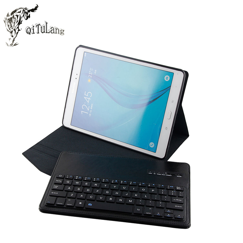 QITULANG For Samsung GALAXY Tab A 9.7 T550 PU Leather Case Stand Cover + Detachable Bluetooth Touchpad Keyboard(China (Mainland))