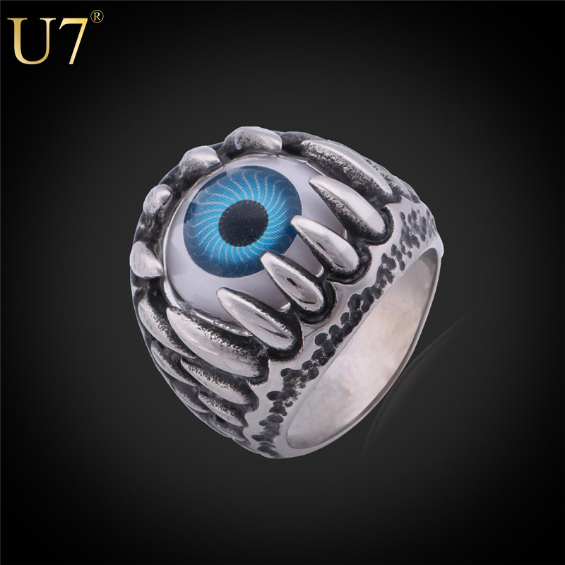 Resident Evil Eye Ring 316L Stainless Steel Party Fashion Jewelry 2015 New Item Trendy Blue Eye Punk Men Jewelry Bands Ring R348(China (Mainland))