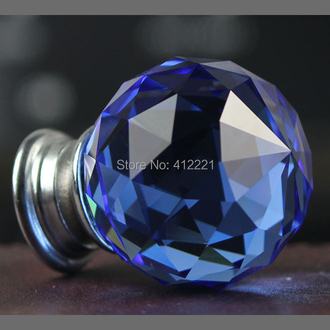 Free ship China Factory Outlet 10 pcs Clear blue 35mm Crystal Glass Antique Cabinet Knobs and Handles for room furniture door(China (Mainland))