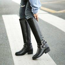 ASUMER Große größe 34-46 frauen kniehohe stiefel schnalle mit zip Retro frauen motorrad stiefel dickes fell warme winter schnee stiefel(China)