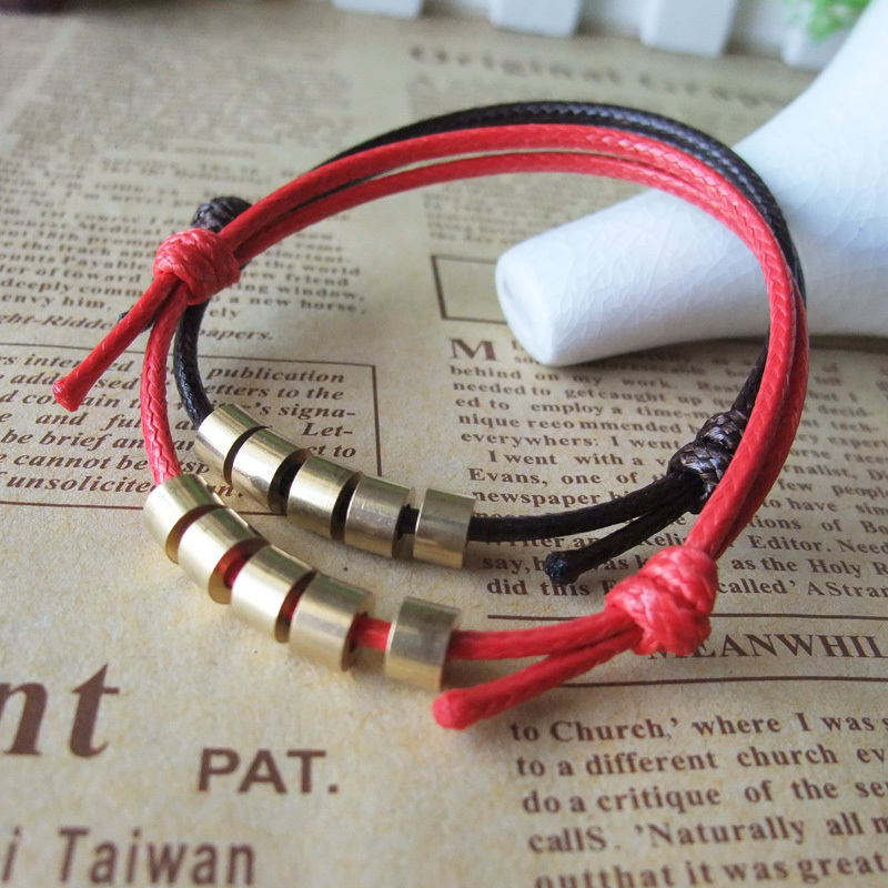 Kabbalah Lucky Copper Beads Bracelet Red Rope Bangle Wax Cord \ Line \ String Classic Fashion Jewelry(China (Mainland))