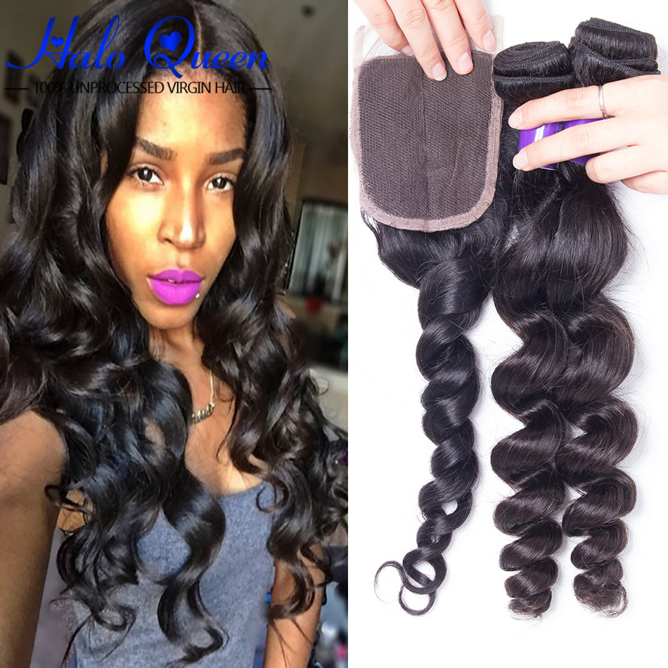 4 Pcs 8a Grade Virgin Unprocessed Peruvian Loose Wave Human Hair With Lace Closure Puruvian Loose Wavy Hair Bundles With Closure