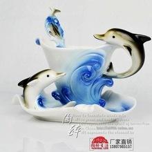 RF10 Jingdezhen porcelain enamel porcelain coffee cup flange creative cup milk cup carved dolphins move