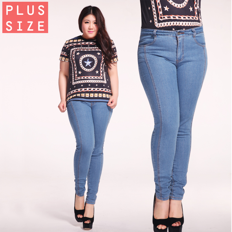 Free Shipping 2015 Skinny Jeans Woman Blue Bootcut Jeans Plus Size Girls Skinny Lady 32