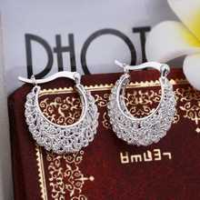 Hot Sale!Free Shipping 925 Silver Earring,Fashion Sterling Silver Jewelry,Openwork Flower Earrings SMTE329(China (Mainland))