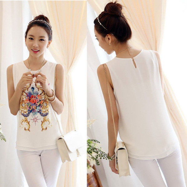 2015 Summer New Fashion Korean Style Blouses Women 39 S Floral Print Sleeveless Vest Blouse Chiffon