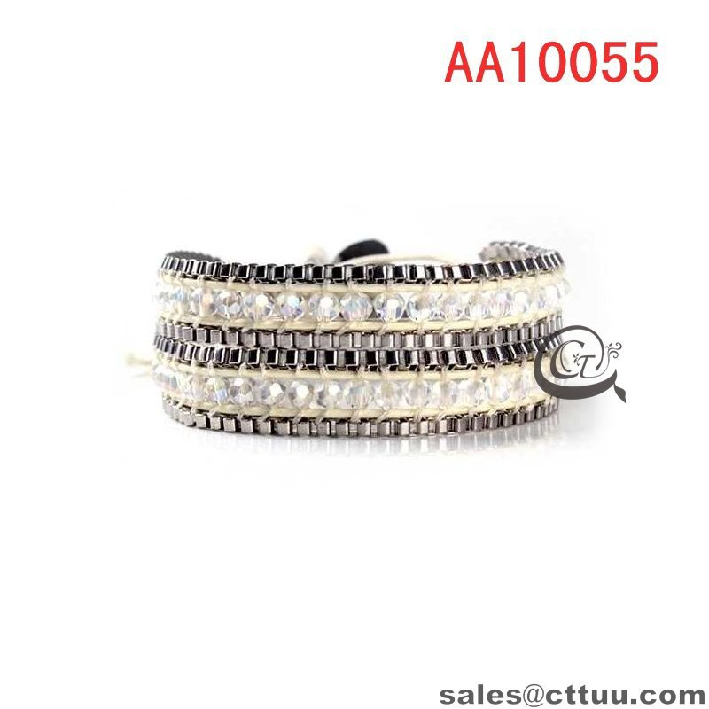 Unique wrap bracelets cheap leather wrap bracelets crystal beads leather wrap bracelets for men Christmas Gift for girl(China (Mainland))