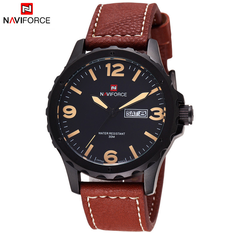 2015 New Male Date Day Clock Men Leather Casual Sports Watches Men Wrist Military Quartz Watch Brand NAVIFORCE Relogio Masculino<br><br>Aliexpress