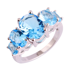 New Art Deco Fashion Jewelry Blue Topaz 925 Silver Ring Size 6 7 8 9 10 11 12 13 Free Shipping Wholesale For Gift Party