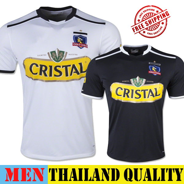 Colo Colo 14 15 New Jersey Home White Away Black Soccer Jersey Football Shirt Colo-Colo Camiseta Camisa Futbol Thai Quality 2015(China (Mainland))