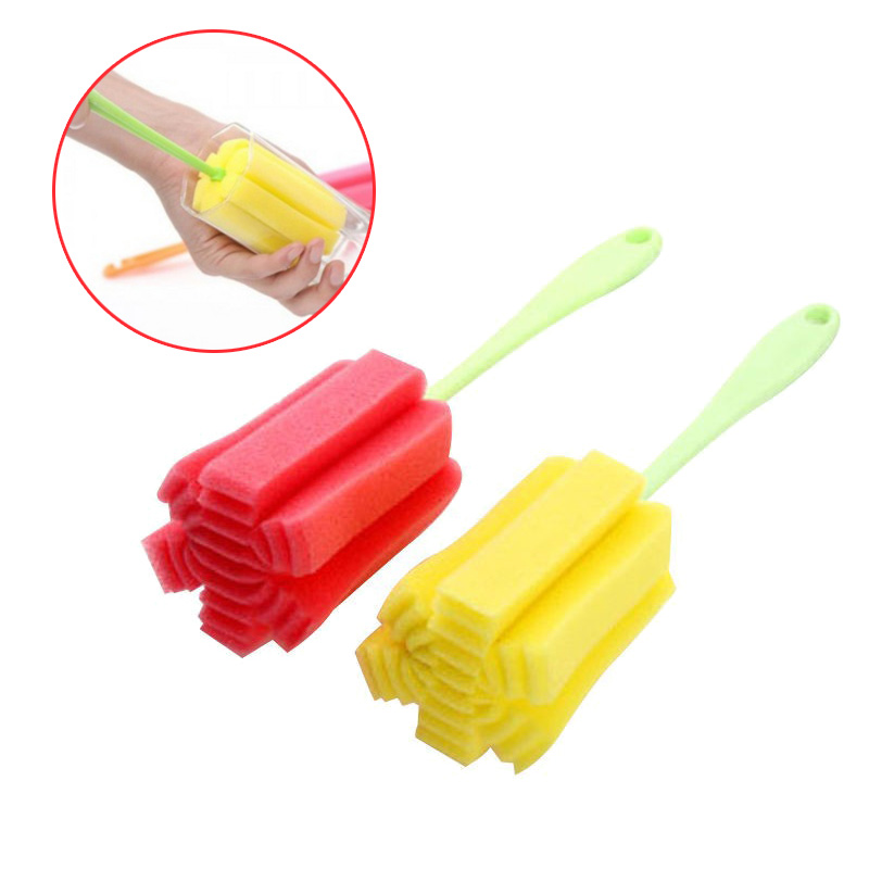 Long Handle Easy Brush Cup Cleaning Creative Colorful Sponge Brush Bottle Cup Bottom Glass Washing Cleaning Kitchen Cleaner Tool(China (Mainland))