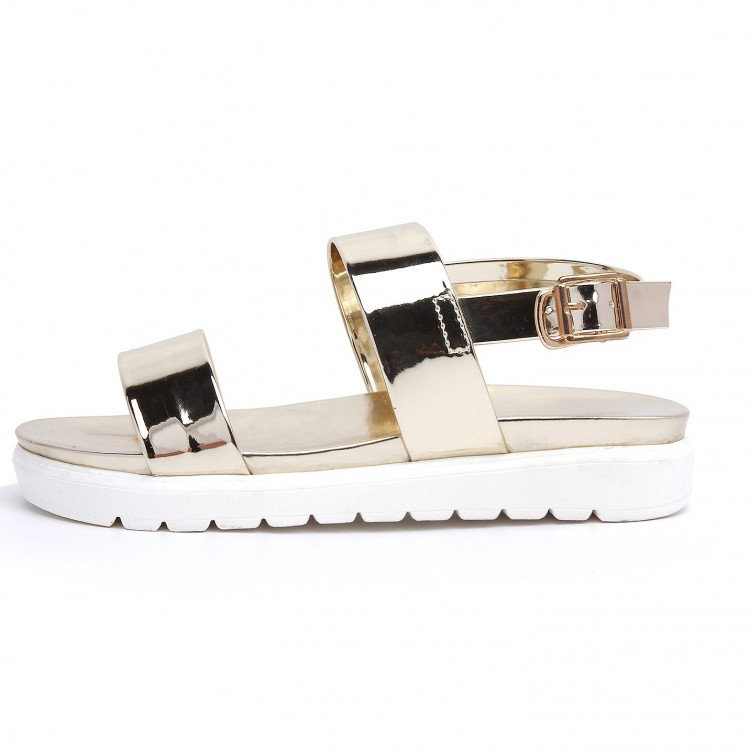 2015 summer style shoes woman flat heel soft leather gold and sliver quality sandals fashion brand design beach shoes size 34-39(China (Mainland))