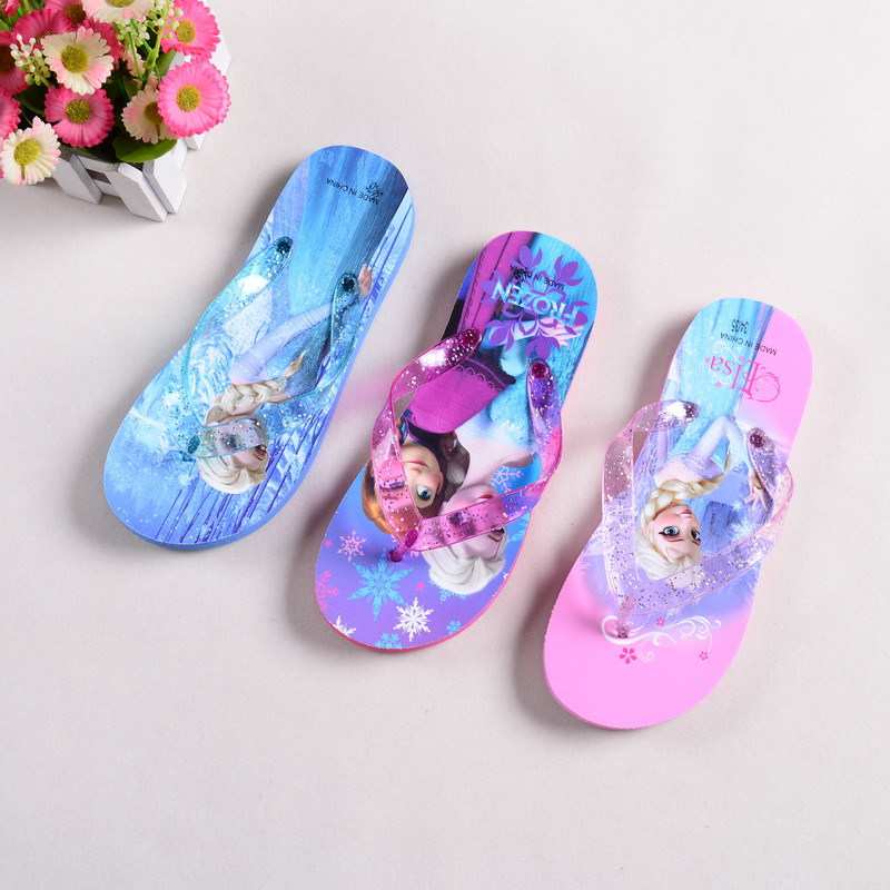 New Fashion Children shoes Elsa Anna slipper girl summer shoes cartoon kids slippers baby Home slippers(China (Mainland))