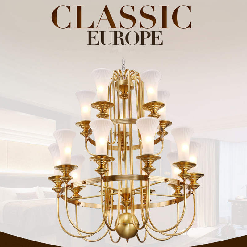 Villa Foyer Or Stairs Luxury Copper Chandelier Modern Candle Led Hanging Chandelier(China (Mainland))