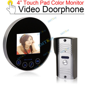 4inch color LCD touch pad monitor video doorphone with outdoor color camera