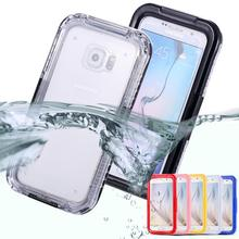 S6/S6 edge Waterproof Swim Diving Case For Samsung Galaxy S6 G9200 /S6 Edge G9250 Clear Protective Front & Back PC+ TPU Cover